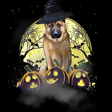 German Shepherd and Moon Funny Halloween  by CreativeFit