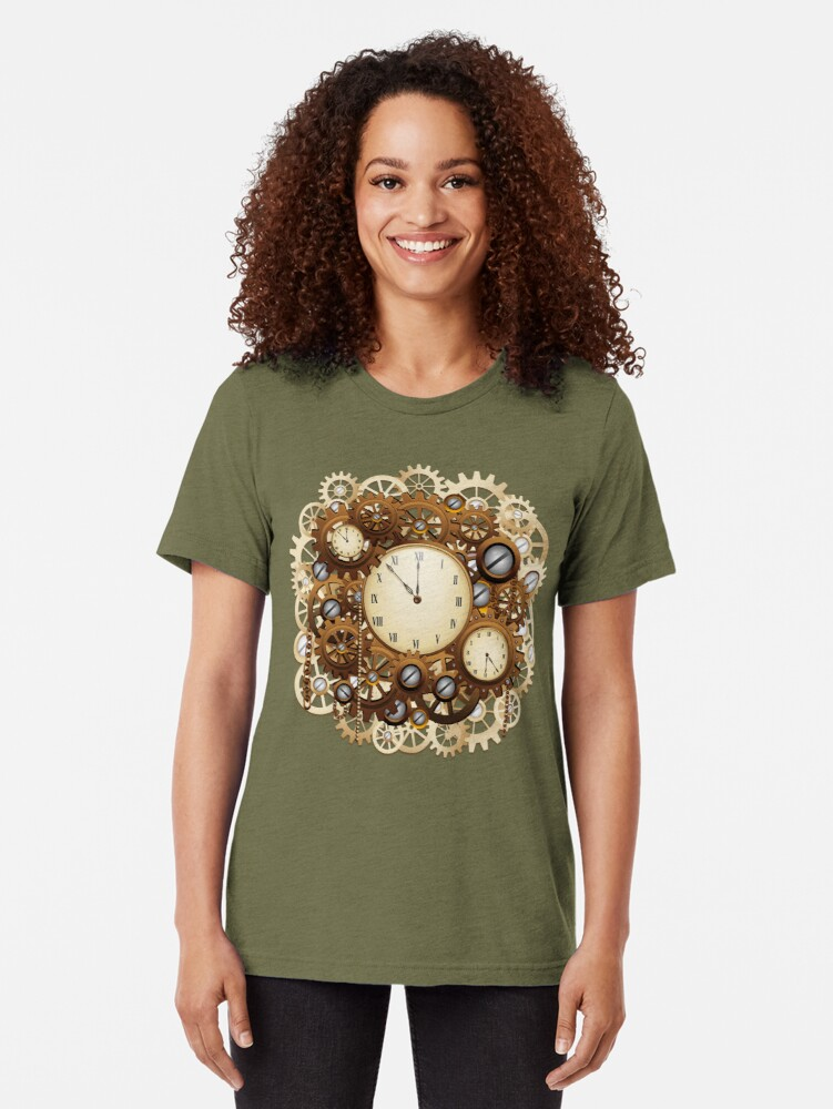 Alternate view of Steampunk Clocks and Gears Vintage Style  Tri-blend T-Shirt