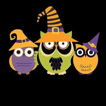 Three Cute Owls with Witch Hats by UllUDesign