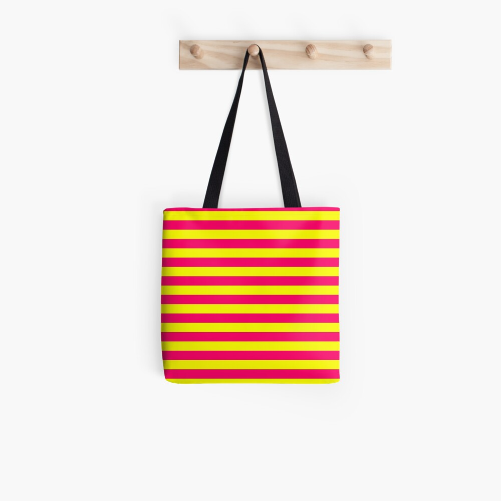 Super Bright Neon Pink and Yellow Horizontal Beach Hut Stripes Tote Bag
