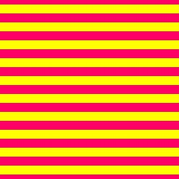 Super Bright Neon Pink and Yellow Horizontal Beach Hut Stripes by podartist