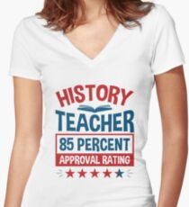 History Teacher Election Theme Approval Rating Women's Fitted V-Neck T-Shirt