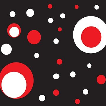 Red White Black Retro Circle Retro by ValeriesGallery