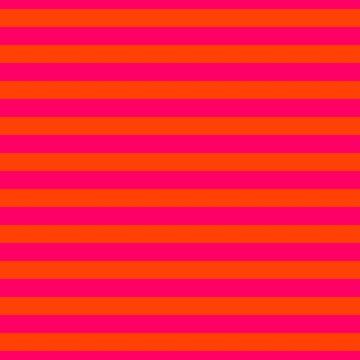 Super Bright Neon Pink and Orange Horizontal Beach Hut Stripes by podartist