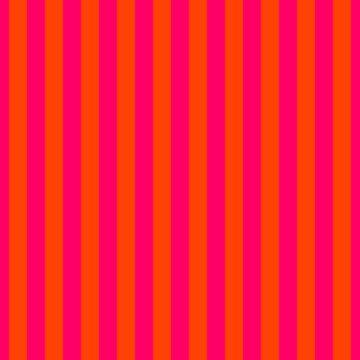 Super Bright Neon Pink and Orange Vertical Beach Hut Stripes by podartist