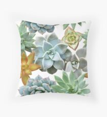 Succulent Pattern - Organic Botanics -  Nature Lover Succulent Mix for the Plant Lover Throw Pillow