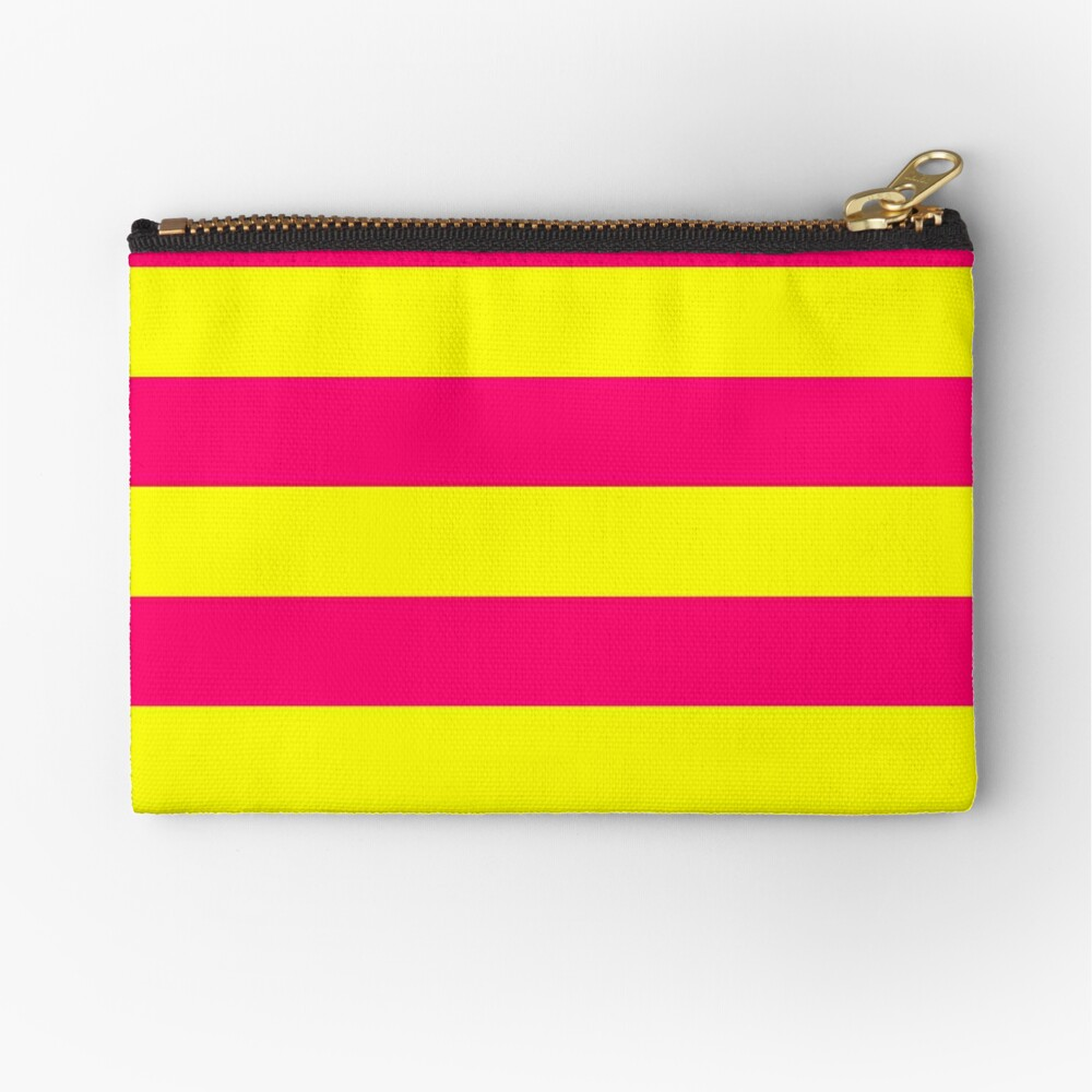Bright Neon Pink and Yellow Horizontal Cabana Tent Stripes Zipper Pouch