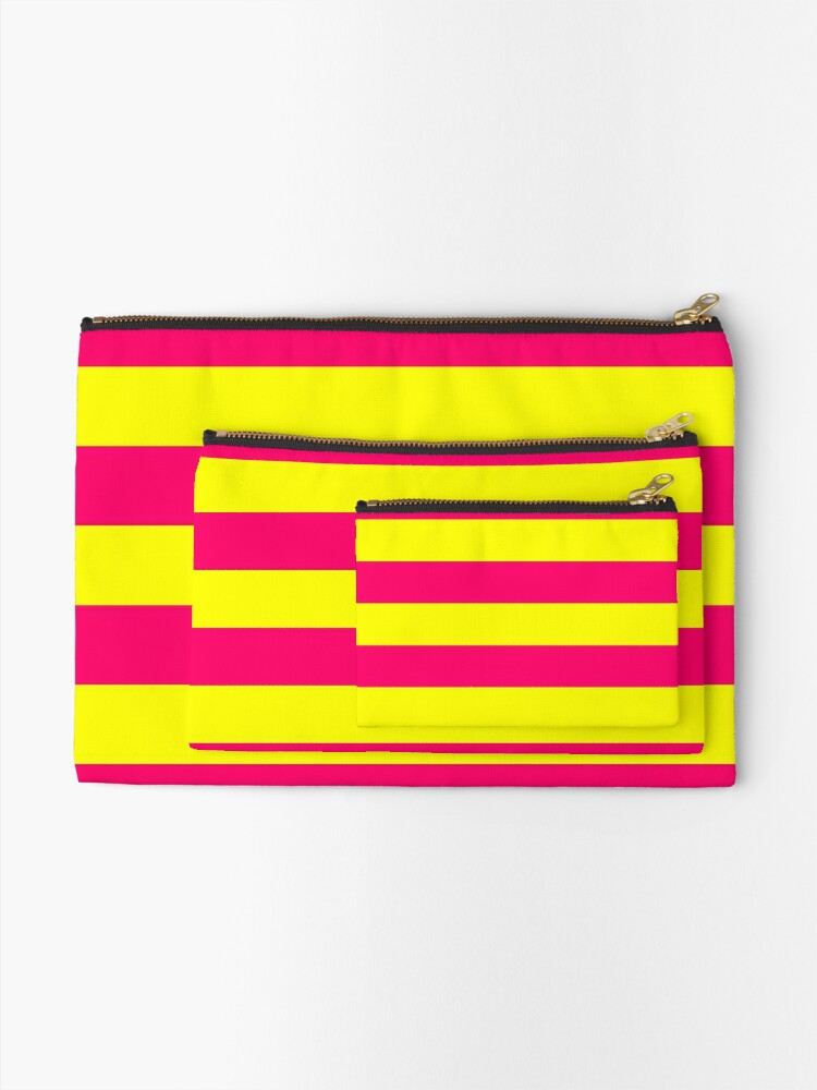 Alternate view of Bright Neon Pink and Yellow Horizontal Cabana Tent Stripes Zipper Pouch