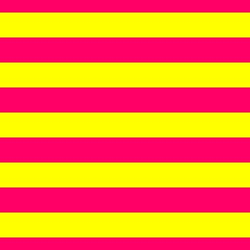 Bright Neon Pink and Yellow Horizontal Cabana Tent Stripes by podartist