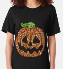 Pumpkin Printed Rhinestone Jackolantern Tshirt Slim Fit T-Shirt