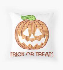 Printed Rhinestone Jackolantern Pumpkin Throw Pillow