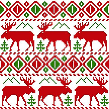 Nordic Christmas Red Green Moose by 4Craig