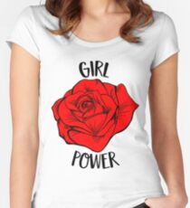 Girl Power Gift For Woman Cool Red Rose Feminist Gift Women's Fitted Scoop T-Shirt