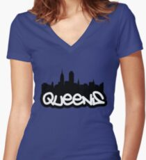 Queens NYC Women's Fitted V-Neck T-Shirt