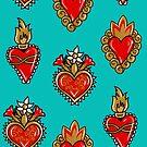 Sacred Heart blue print by Pendientera