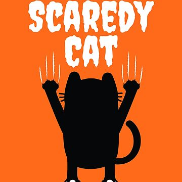 Funny Scaredy Black Cat Halloween  by CreativeFit