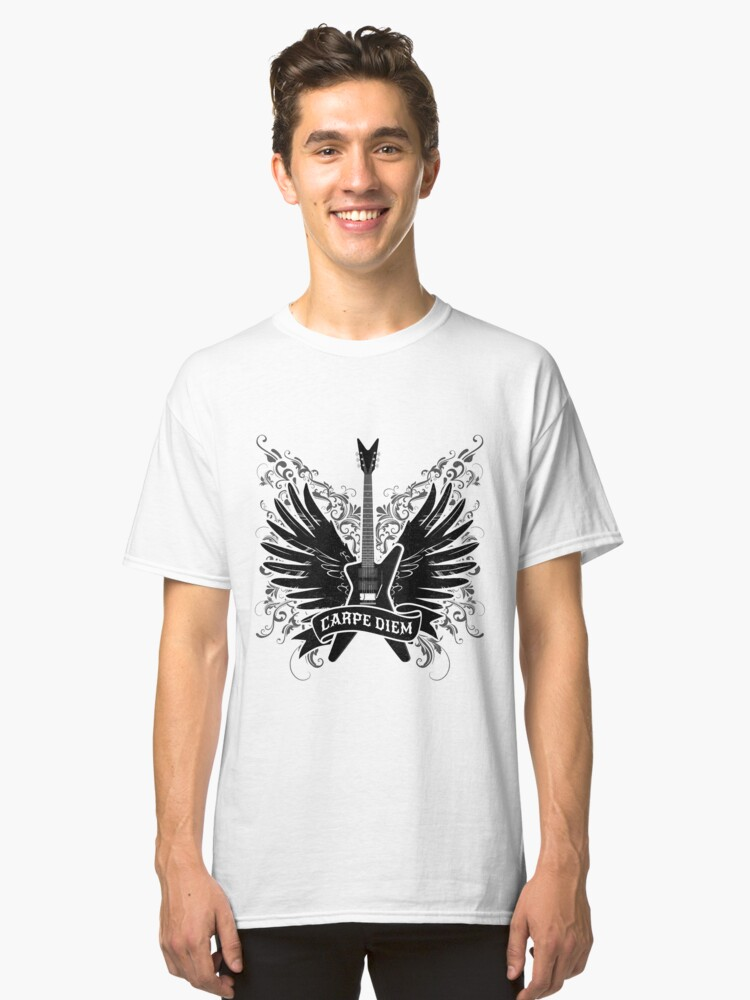 'Carpe Diem Guitar with Wings' Cool Rock n Roll Gift Classic T-Shirt Front