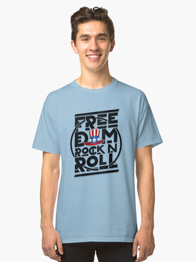'Freedom Rock and Roll' Cool Rock n Roll 4th of July Gift Classic T-Shirt Front