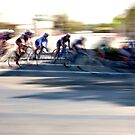 Women cyclists Racing into the Turn by Buckwhite