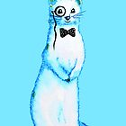 White Ferret Gentleman With Monocle And Bow Tie by Boriana Giormova
