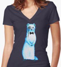 White Ferret Gentleman With Monocle And Bow Tie Women's Fitted V-Neck T-Shirt