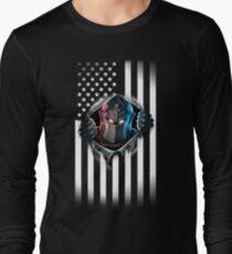 Camiseta de manga larga Versión 2 de la bandera americana del caballero negro