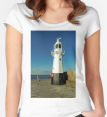 Harbour Lighthouse, Mevagissey Women's Fitted Scoop T-Shirt