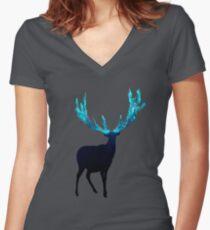Magisches Rentier - Sterling Magenta Shirt mit V-Ausschnitt