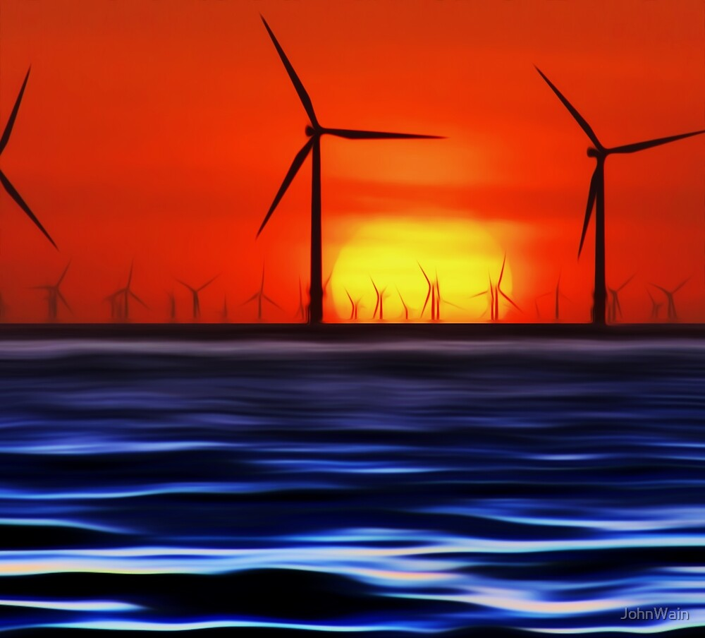 Wind Farms in the Sunset (Digital Art) by JohnWain
