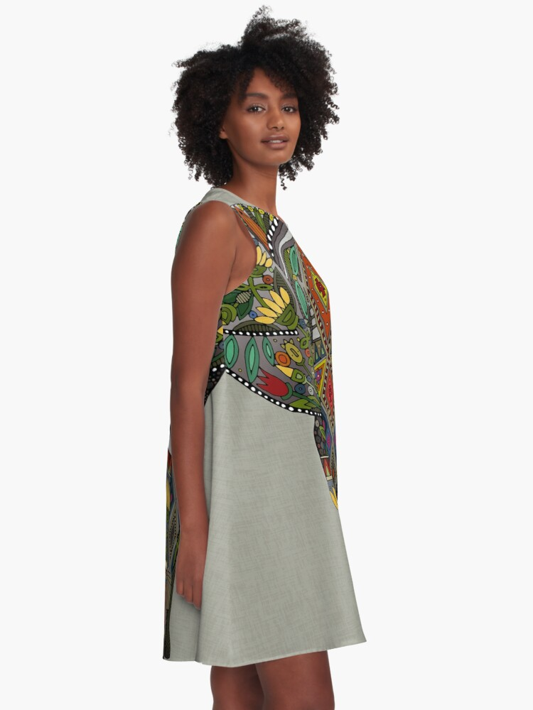Alternate view of floral elephant stone A-Line Dress