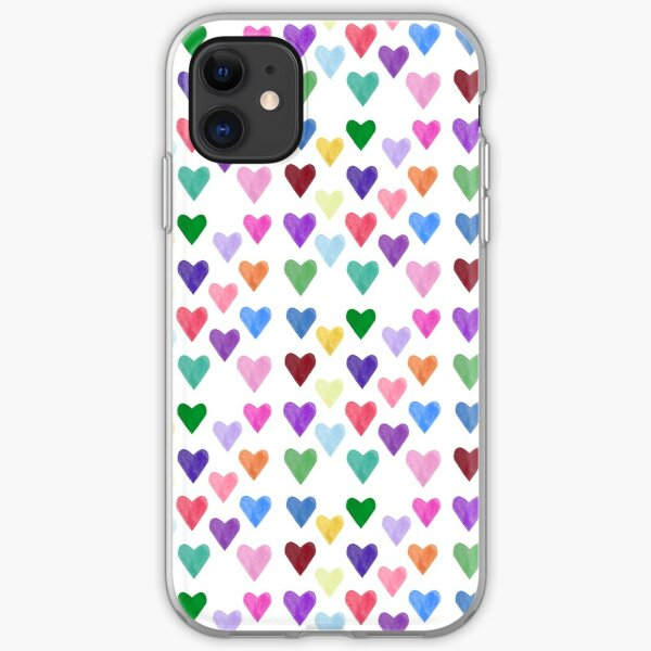 Watercolor Hearts Pattern iPhone Soft Case