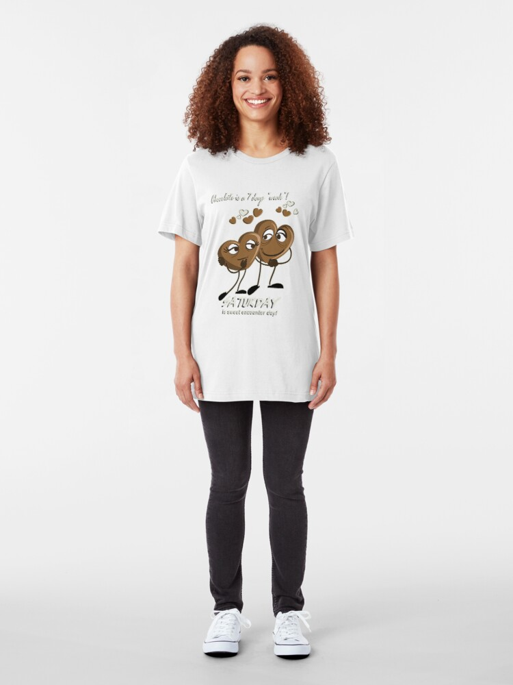 Alternate view of Chocolate - Saturday is sweet encounter day Slim Fit T-Shirt