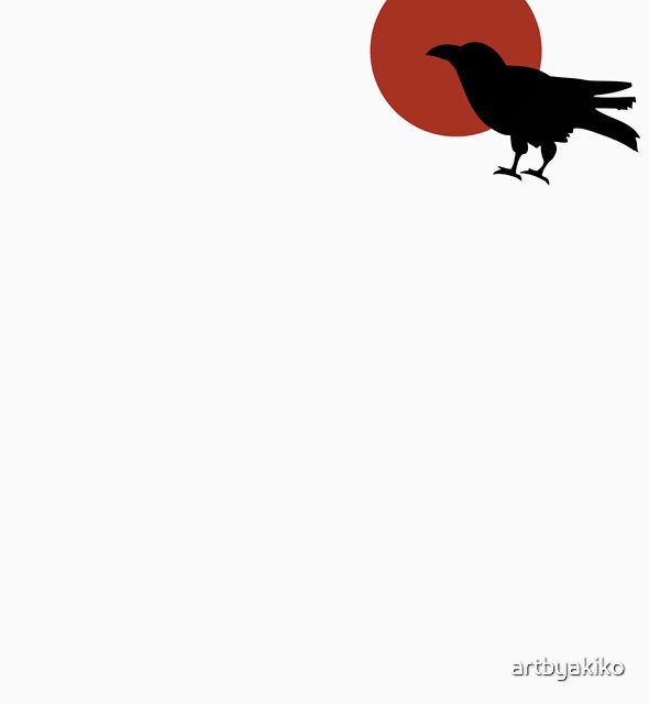 Red Moon and Crow Raven T-shirt (Small image) by artbyakiko