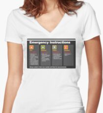 Subway Emergency Instructions Women's Fitted V-Neck T-Shirt