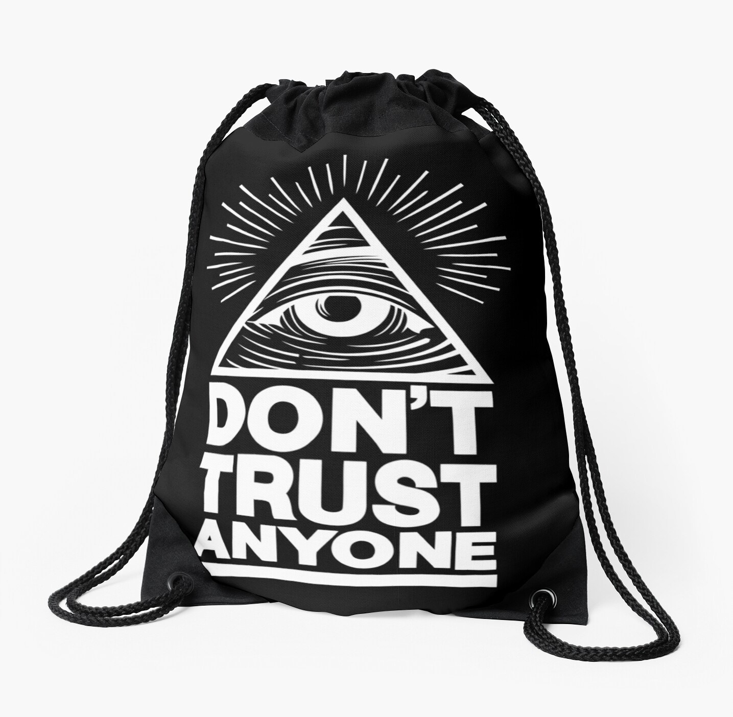 """""""Don't Trust Anyone"""" Drawstring Bags By Suburbia"""