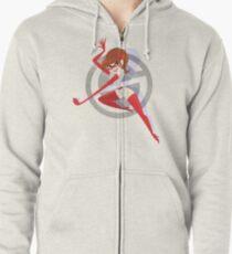 Super Stretchy Retro Heroine Zipped Hoodie