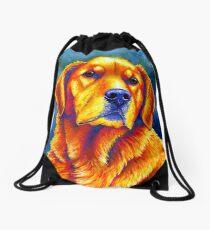 Colorful Golden Retriever Dog Portrait Drawstring Bag