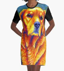 Colorful Golden Retriever Dog Portrait Graphic T-Shirt Dress