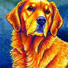 Colorful Golden Retriever Dog Portrait by Rebecca Wang