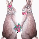 Love Rabbits, watercolor bunny special occaision by MagentaRose