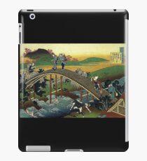 'Travelers on the Bridge Near The Waterfall of Ono' by Katsushika Hokusai (Reproduction) iPad Case/Skin