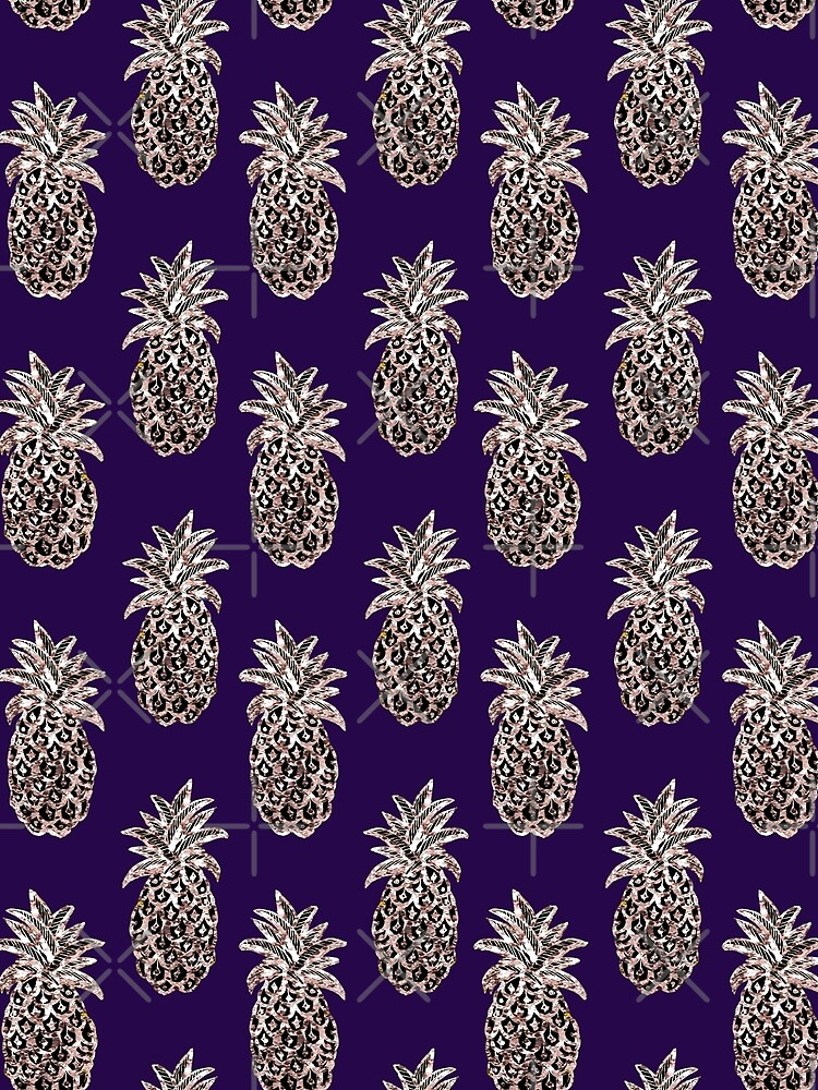 Rose Gold pineapples on purple by MagentaRose