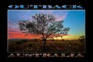 Outback Sunset (poster on black) by Ray Warren