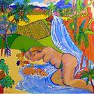 Paradise Queensland Style , cushion , throw pillow  by Virginia McGowan