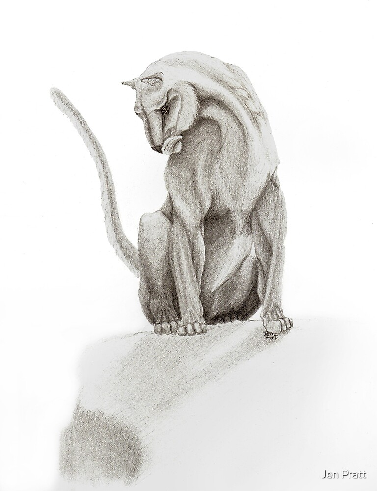 Mountain Lion Greeting Card by Jen Pratt