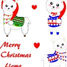 Cute Christmas Llamas Festive Pattern  by Artification