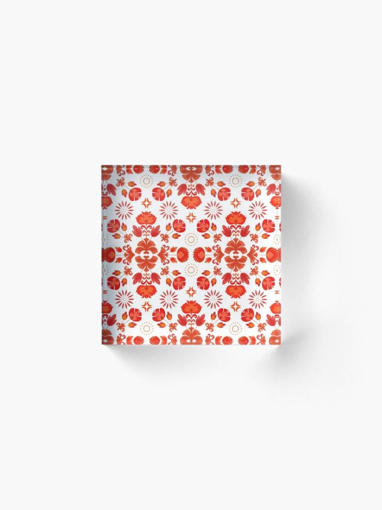 Alternate view of Fiesta Folk Red #redbubble #folk Acrylic Block