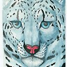 Snow leopard Watercolor Painting by StoneStudios
