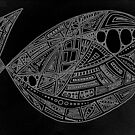 Black and white abstract whale by MagsArt