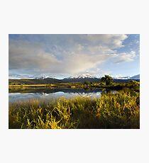 Spanish Peaks and the La Veta Town Lakes Photographic Print